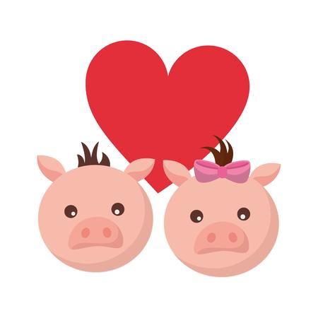 cute couple pigs love heart vector illustration Stock Vector - 124907470