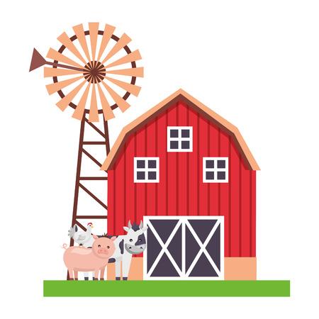 maiale mucca e gallina fienile mulino a vento fattoria fresca illustrazione vettoriale