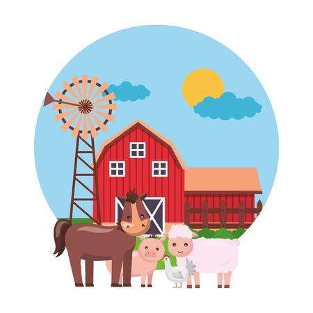 horse hen sheep barn windmill farm fresh vector illustration