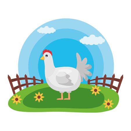 hen fence flowers farm fresh vector illustration