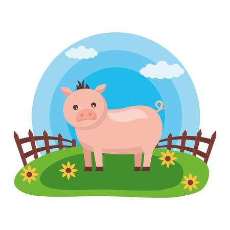 pig fence flowers farm fresh vector illustration Stock Illustratie