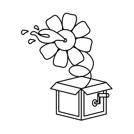prank box flower water april fools day vector illustration