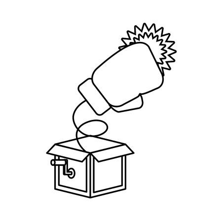 prank box boxing glove april fools day vector illustration