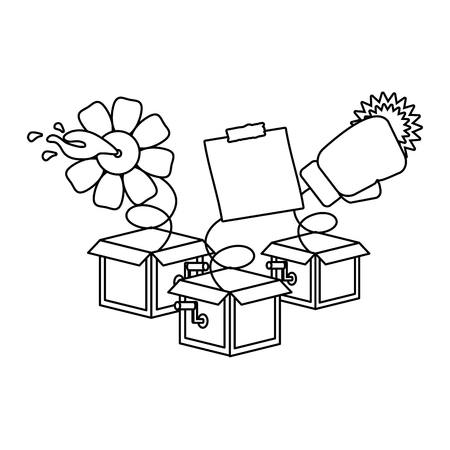 prank boxes note flower glove april fools day vector illustration Reklamní fotografie - 117763454