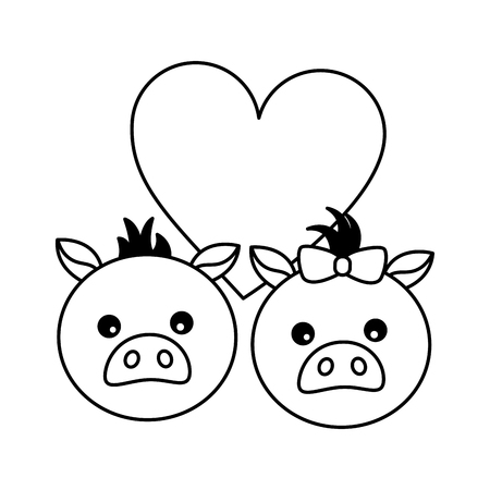 cute couple pigs love heart vector illustration