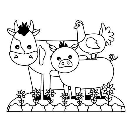 cow pig and chicken animals farm vector illustration
