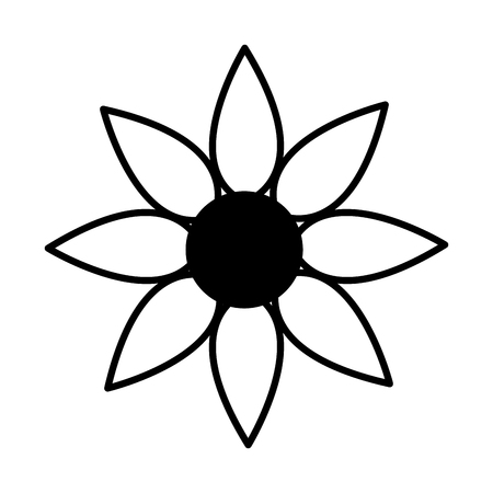 outline flower decoration on white background vector illustration