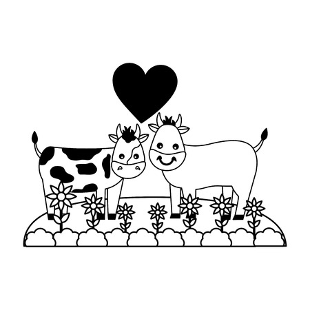 cute couple bull cow in the grass vector illustration Illustration