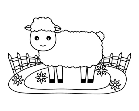 sheep fence flowers farm fresh vector illustration