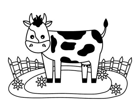 cow fence flowers farm fresh vector illustration Banque d'images - 117763818