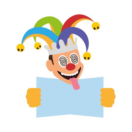 jester with placard april fools day vector illustration Ilustração Vetorial
