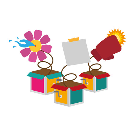 prank boxes note flower glove april fools day vector illustration