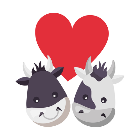 cute bull cow heads heart love vector illustration Ilustração