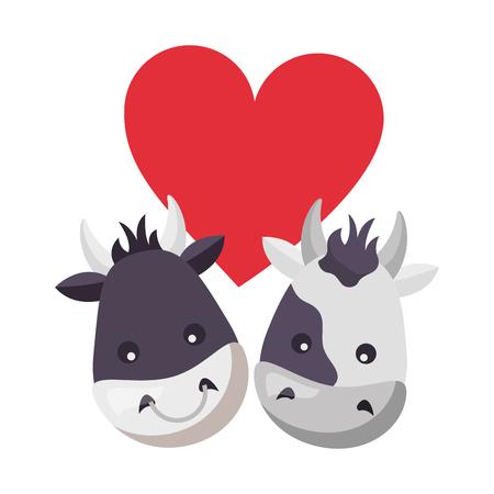 cute bull cow heads heart love vector illustration Illustration