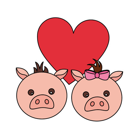 cute couple pigs love heart vector illustration