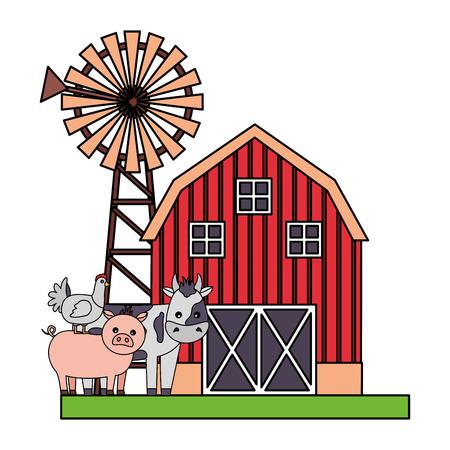 pig cow and hen barn windmill farm fresh vector illustration Foto de archivo - 117765239