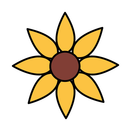 yellow flower decoration on white background vector illustration