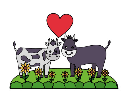 cute couple bull cow in the grass vector illustration Çizim