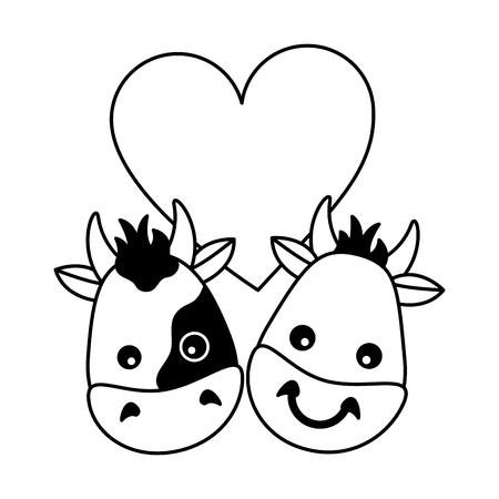 cute bull cow heads heart love vector illustration  イラスト・ベクター素材