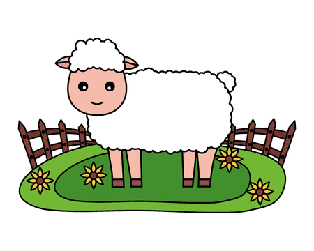 sheep fence flowers farm fresh vector illustration Banque d'images - 117765250