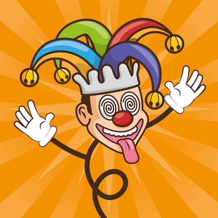 crazy jester with hat april fools day vector illustration
