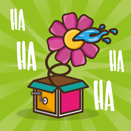 prank flower in the box april fools day vector illustration