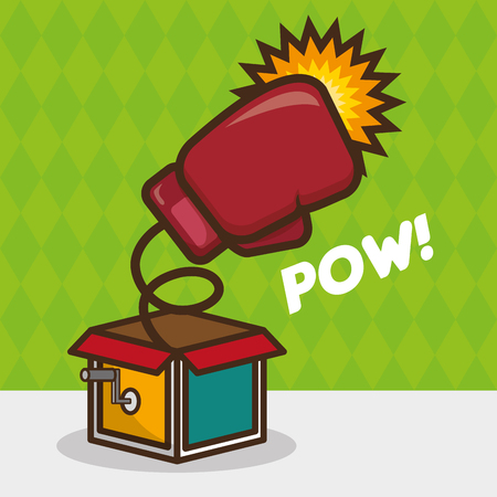 boxing glove in the box april fools day vector illustration Çizim