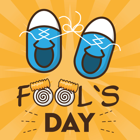 tied shoelaces sneakers april fools day vector illustration
