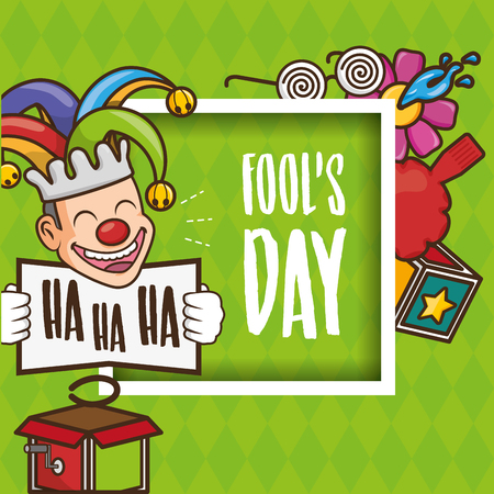 cheerful pranked festival april fools day vector illustration
