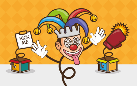 happy jester trick april fools day vector illustration