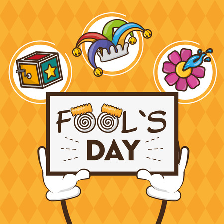 hands with card tricks april fools day vector illustration