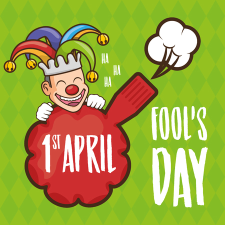 happy jester cushion trick april fools day vector illustration Banque d'images - 124907488