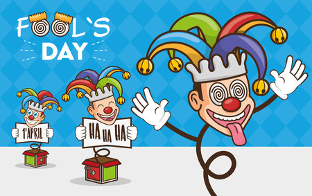 happy jesters trick april fools day vector illustration