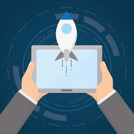 hands witjh tablet rocket tech device vector illustration