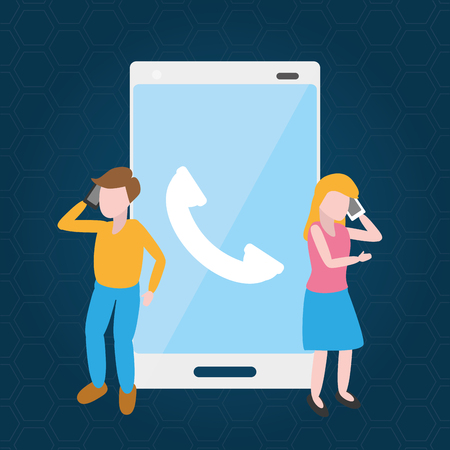 man and woman talking cellphone tech device vector illustration Banque d'images - 124907496
