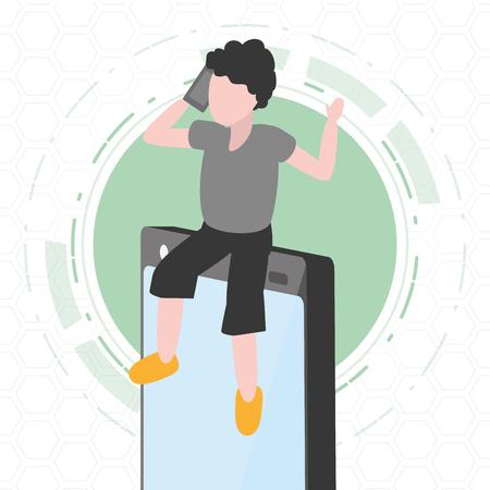 man using phone sitting on mobile tech device vector illustration 向量圖像