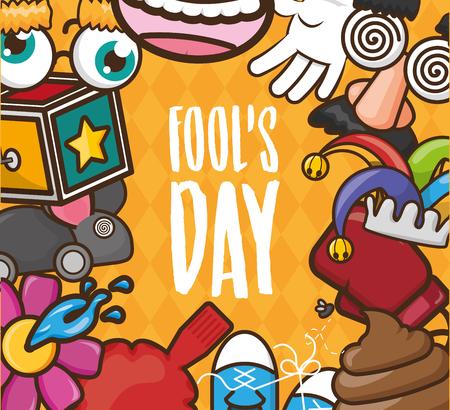 celebrating poster of april fools day vector illustration Ilustración de vector