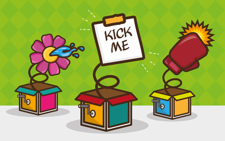 set of prank boxes april fools day vector illustration Banque d'images - 124907502