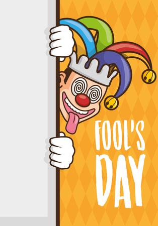 crazy jester comic card april fools day vector illustration Çizim