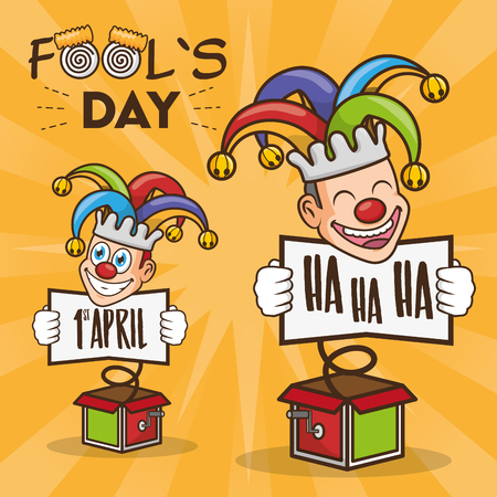 jester in the box with cards april fools day vector illustration Stock Vector - 117765786