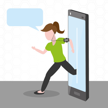 woman running with cellphone tech device vector illustration Stock Vector - 124907505