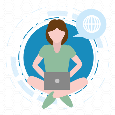 woman using laptop tech device vector illustration Illustration