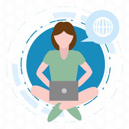 woman using laptop tech device vector illustration Иллюстрация