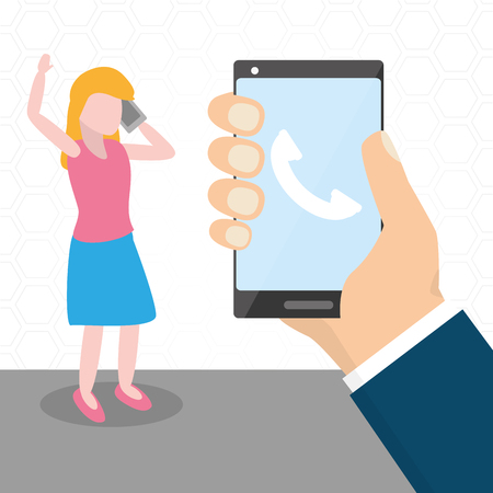 woman talking with smartphone tech device vector illustration Illustration