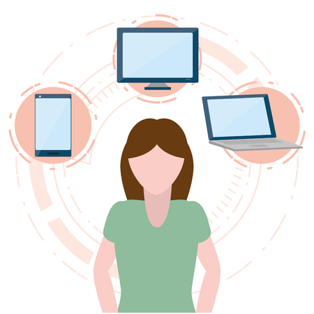 woman with laptop computer smartphone vector illustration