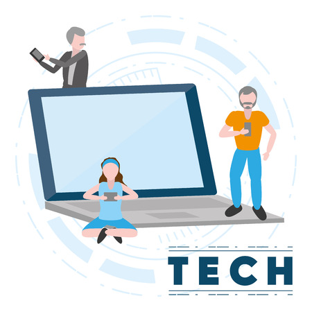 man and woman using laptop and phone tech device vector illustration