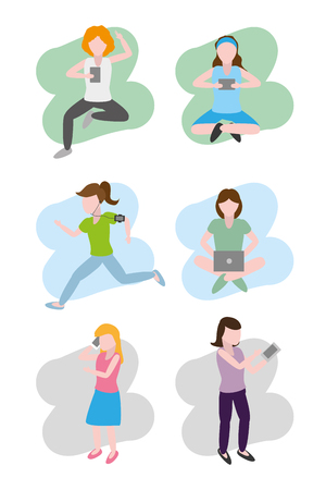 group women using devices technologies vector illustration