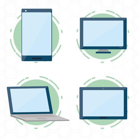 tech devices mobile computer laptop tablet vector illustration