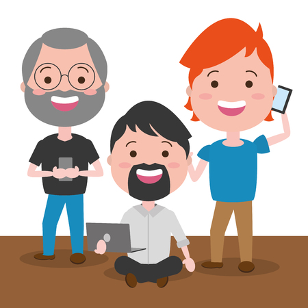 group men with mobile laptop tech device vector illustration 向量圖像