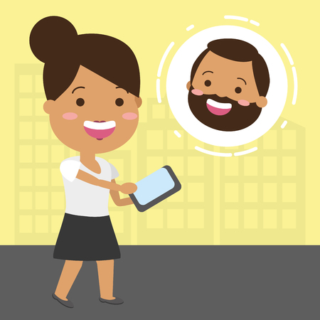 woman talking to someone with tech phone vector illustration Illustration